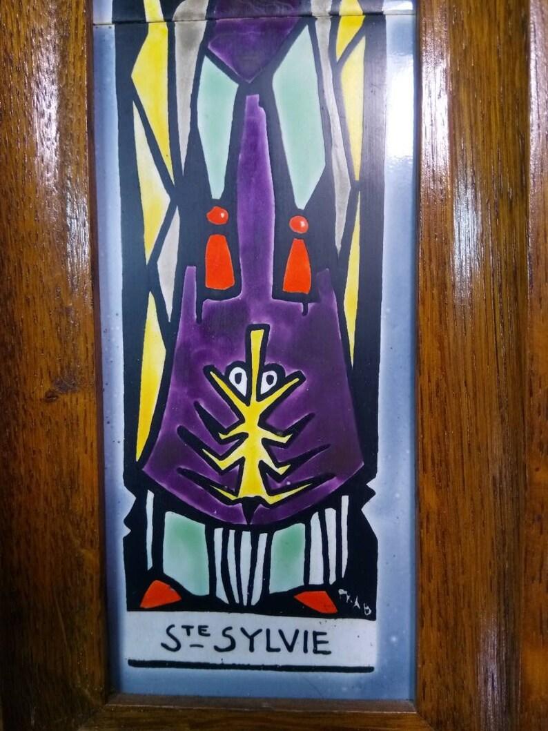 Vintage Wisques Ceramic Art Tile Ste SYLVIE