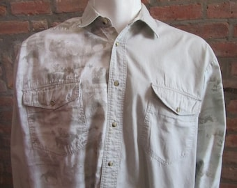 Denver Vintage Retro Western Men/'s Cowboy Shirt Blue and White Plaid with Faux Suede Yokes X-Large see meas. photo Approx