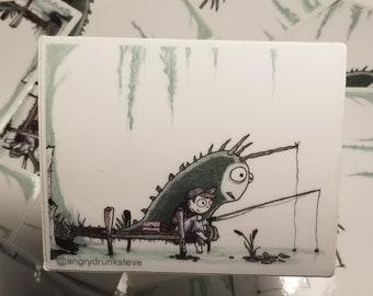 Gone Fishing!  Large Vinyl Sticker