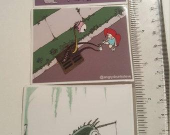 NEW! 3 mini print Vinyl Sticker set