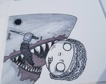 Original Art- Jaws inspired Safety Kid, plus the sticker.