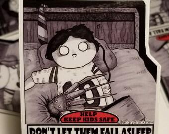 """Nightmare on Elm Street - 4""""  Horror Safety Kid sticker"""