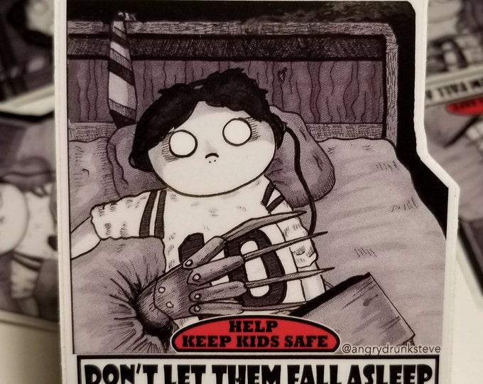 "Featured listing image: Nightmare on Elm Street - 4""  Horror Safety Kid sticker"