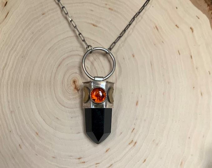 Amber & Obsidian Triple Goddess Sterling Silver Talisman Necklace