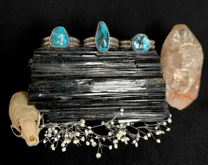 Nugget Cut Kingman Turquoise Sterling Silver Rings
