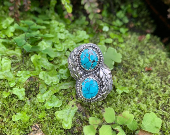 Double Hubei Turquoise Ring, Size 9