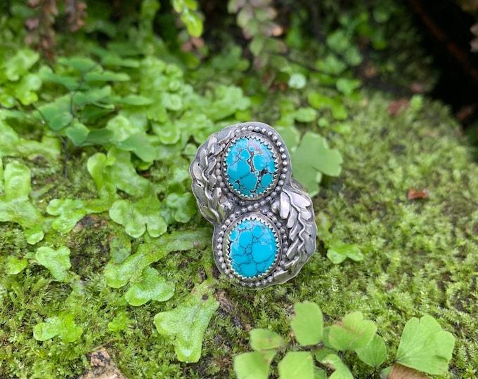 Double Hubei Turquoise Ring, Size 9