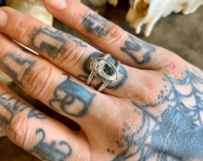 White Buffalo Turquoise Ring, Size 7