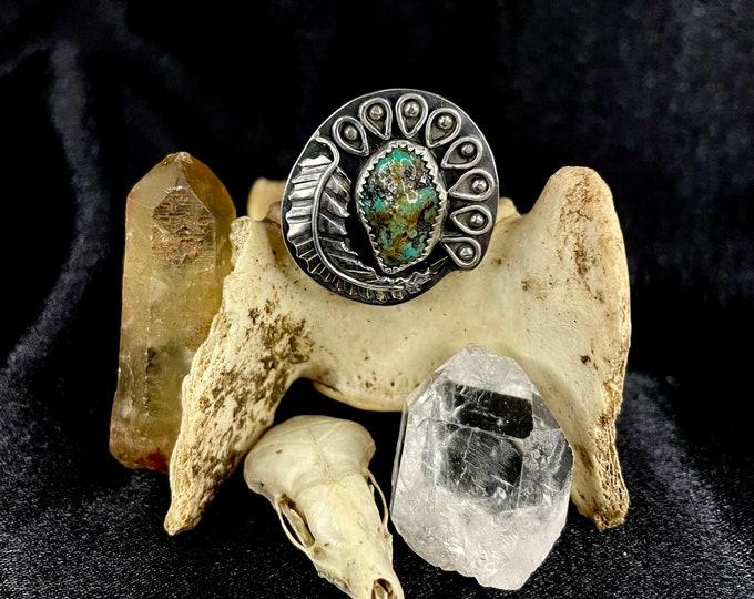 Alacrone Turquoise Nugget Ring, Size 7