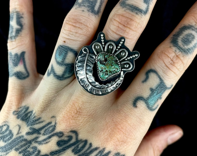 Alacrone Turquoise Nugget Ring, Size 8