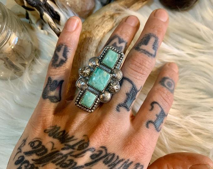 Orvil Jack Turquoise Totem Ring, size 5