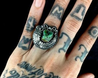 Alacrone Turquoise Nugget Ring, Size 6