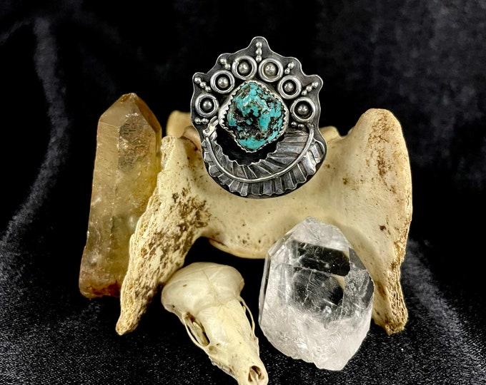 Alacrone Turquoise Nugget Ring, Size 9