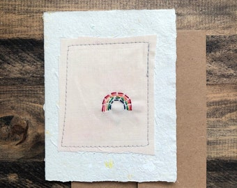 Rainbow Greeting Card; Handmade Recycled Paper and Fabric; Blank