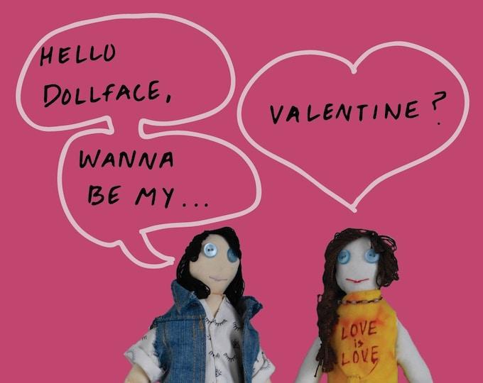 Valentine's Day Card LGBTQ Doll Theme