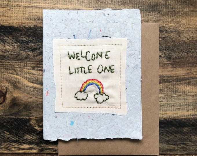 Welcome Little One Card; Handmade Recycled Paper and Fabric; Blank Inside