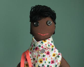African American Doll; Representation Matters Plush Toy; Girl Cloth Doll with Embroidered Skirt and Tote Bag