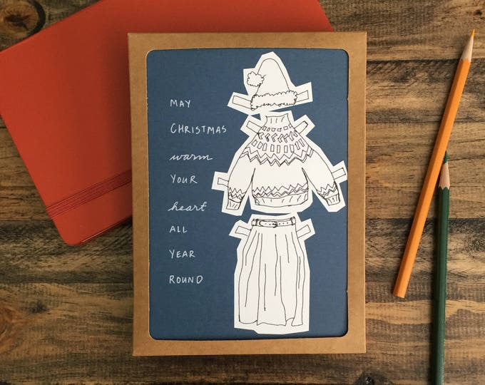 Pack of 8 Christmas Cards; Merry Christmas; Gender Fluid; Paper Doll greeting Card Blue