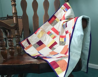 Baby Quilt Gender Neutral Patchwork Minimal Design; Quilt with Colorful Patches