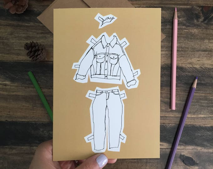 Christmas Card; Warm Wishes; Gender Fluid; Paper Doll greeting Card Yellow