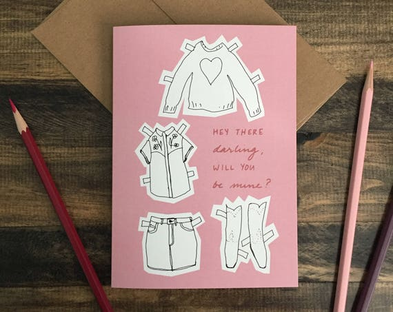 Paper Doll Greeting Card; Happy Valentine's Day; Cowgirl; Pink