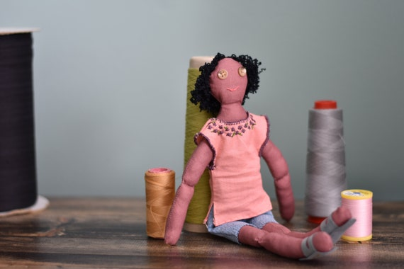 African American Doll; Representation Matters Plush Toy; Cloth Doll with Curly Hair