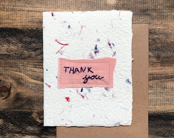 Thank you card; Handmade Recycled Paper; embroidered greeting card