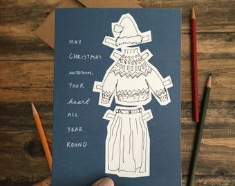 Christmas Card; Merry Christmas; Gender Fluid; Paper Doll greeting Card Blue