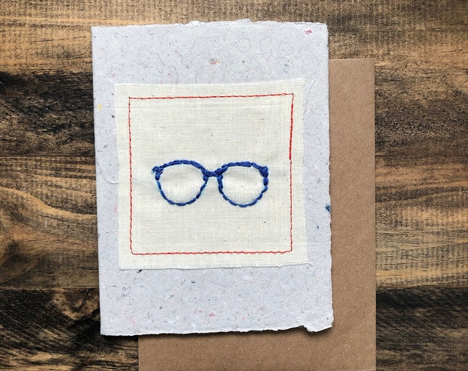 Glasses Greeting Card; Handmade Recycled Paper and Fabric; Blank Inside
