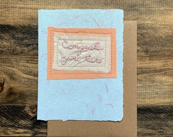 Congrats you tow, Wedding Day Greeting Card; Handmade Recycled Paper and Fabric