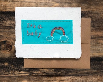 It's a baby Card; Handmade Recycled Paper and Fabric; Blank