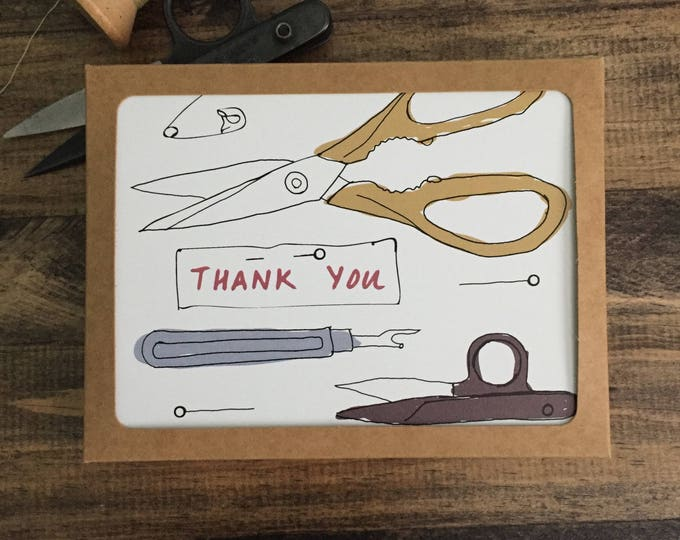 Pack of 9 Thank You Cards; Mixed Sewing Designs