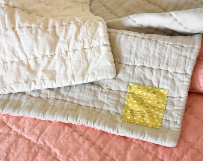 Pink Ombre Baby Crib Quilt; 52 in. by 34.5 in.; Minimal Hand Quilted