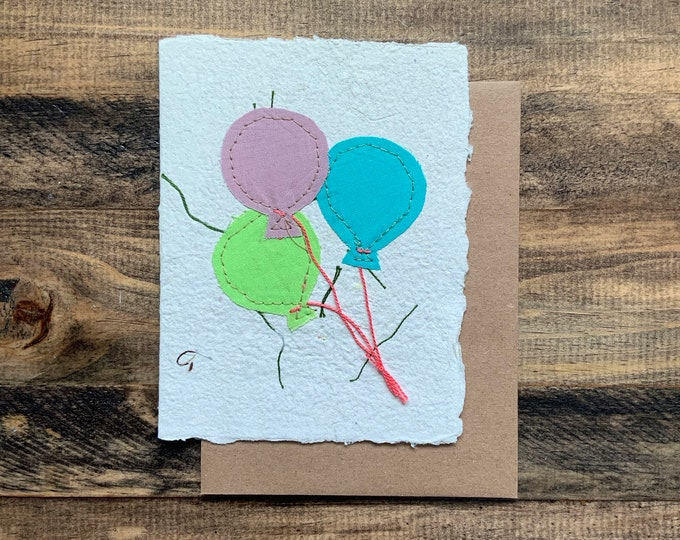 Balloons Greeting Card; Handmade Recycled Paper and Fabric; Blank Inside