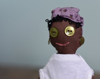 African American Doll; Representation Matters Plush Toy; Cloth Doll with Headscarf