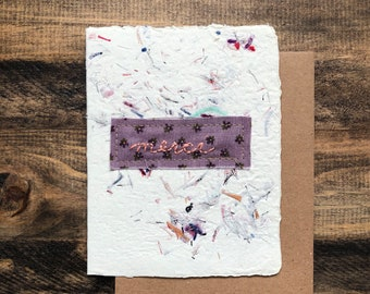 Merci, Thank you card; Handmade Recycled Paper; embroidered greeting card
