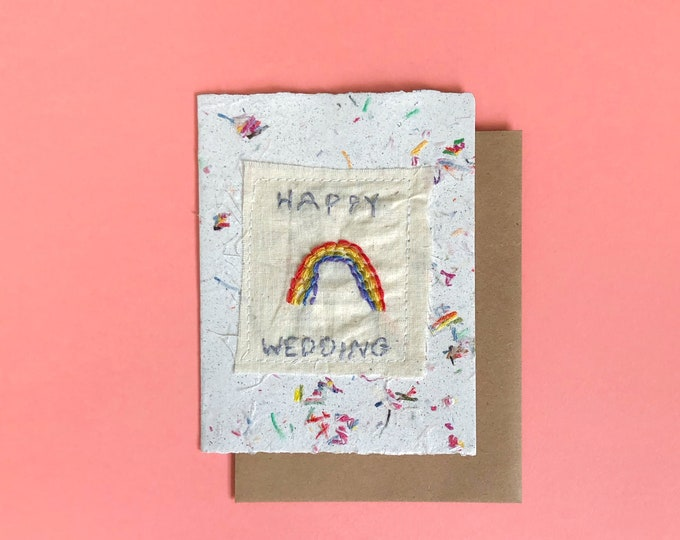 Happy Wedding; Handmade Recycled Paper and Fabric; Blank