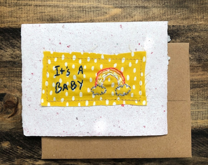 Featured listing image: It's a baby Card; Handmade Recycled Paper and Fabric; Blank