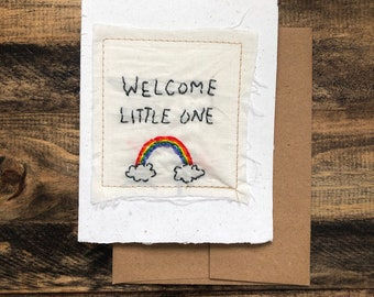 Welcome little one Card; Handmade Recycled Paper and Fabric; Blank