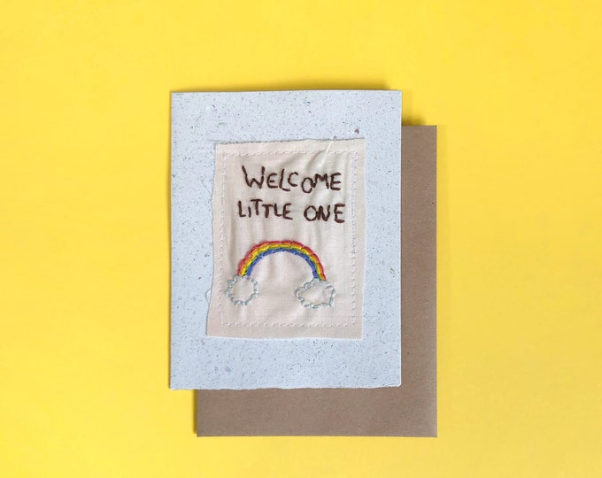 Welcome Little One; Handmade Recycled Paper and Fabric; Blank