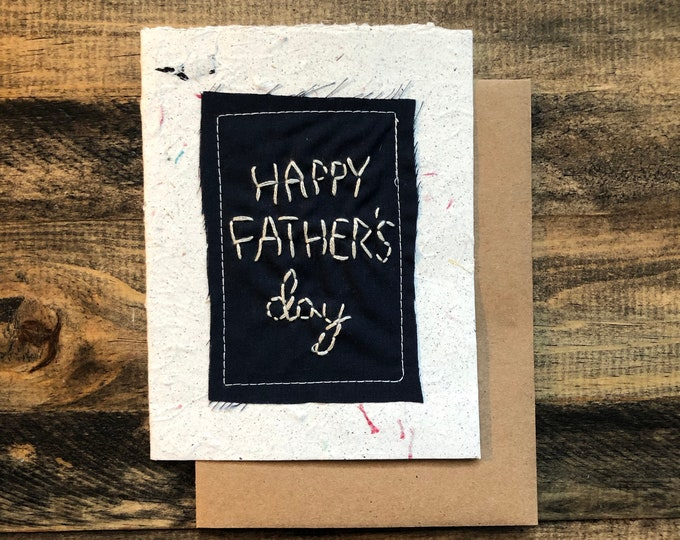 Happy Father's Day Greeting Card; Handmade Recycled Paper and Fabric