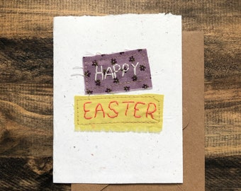 Happy Easter card; Handmade Recycled Paper; embroidered greeting card