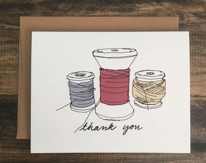 Thank You Card; Appreciation Card; Modern Sewing Themed Greeting Card; Vintage Spools