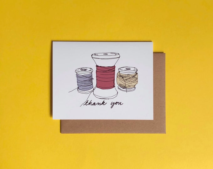 Thank You Card; Vintage Spools