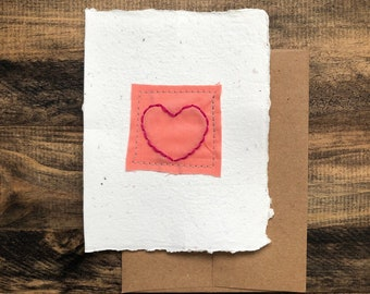 Embroidered Heart Greeting Card; Handmade Recycled Paper and Fabric; Valentine