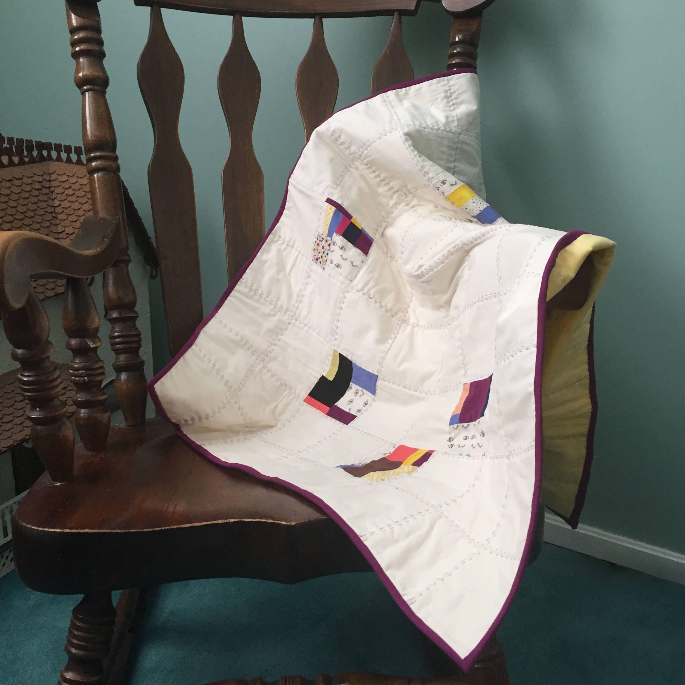 Baby Quilt Gender Neutral Patchwork Minimal Design With Hand