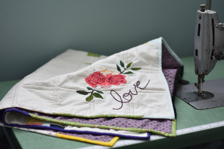 Baby Quilt Gender Neutral Patchwork Minimal Design Hand Embroidered
