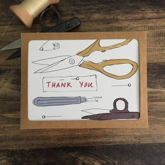 Pack of 9 Thank You Cards; Appreciation Cards; Modern Sewing Themed Greeting Card; Mixed Designs