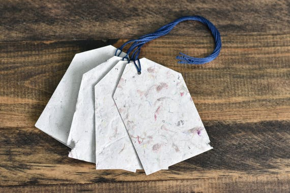 Handmade Paper Gift Tags; Recycled Paper and Fabric; Pack of 10