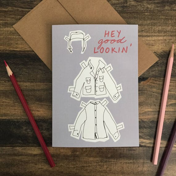 Happy Valentine's Day Card; Paper Doll Greeting Card; Hey Good Lookin'; Boy Doll; Blue